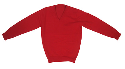 NEW Ex M&S Unisex 'V' Necked Cotton Rich School Jumpers Red Ages 3-10 Years