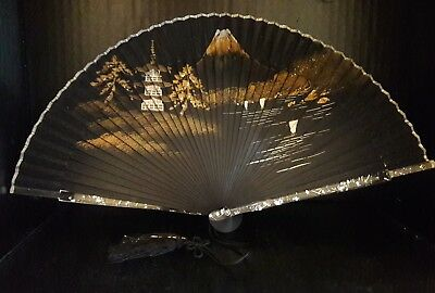 Vintage Antique Silk Painted Pagoda Landscape Fan Lucite Silver Trim New Condit