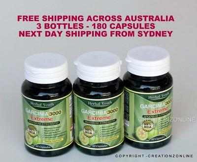 Garcinia Cambogia - 180 Capsules - 3000mg - 95% HCA - Aussie Stock Herbal Youth
