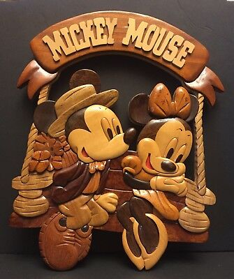 Wooden Minnie & Mickey Mouse on Swing Plaque / Wall Hanging Picture