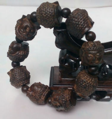 Chinese hand carved Buddha head agalloch eaglewood wood Buddha head Bracelet
