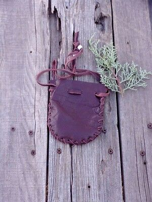 Leather drawstring pouch , Small leather pouch , Leather medicine bag