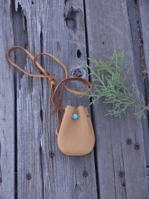 Small leather neck pouch , Leather medicine bag