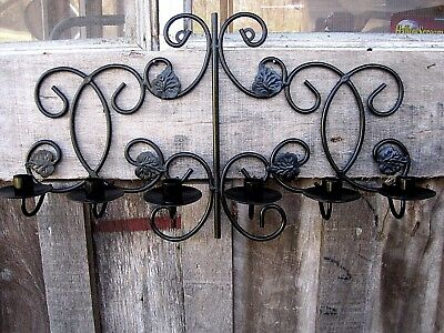 Large Vintage 6 Port Wrought Iron Wall Sconce Home & Garden Taper Candle Holder