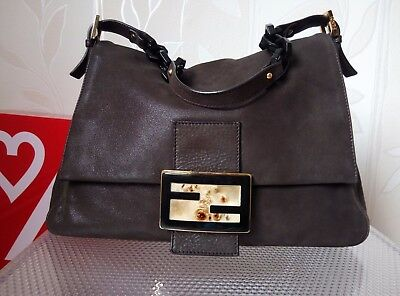 36cfa7b289b9 FENDI 8BR638 Forever Mama Large Flap Nubuck Leather Shoulder Bag Chocolate  Brown