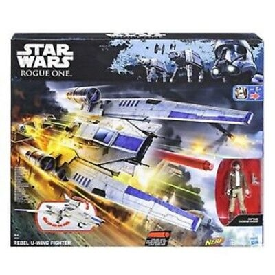 DISNEY STAR WARS Rogue One Rebel U-Wing Fighter with Nerf Darts Hasbro Figure