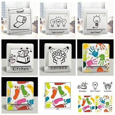 Cartoon Kitchen Bathroom Light Switch Wall Stickers Decor Decals Art Room Home