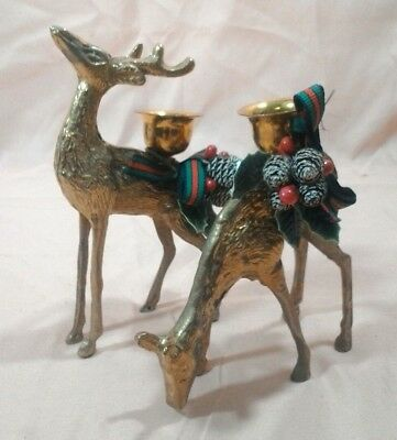 Vintage Pair of Brass REINDEER Candle Stick Holders. lot (4020)kf