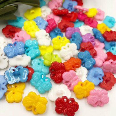 100 pcs Butterfly Plastic Buttons/sewing lots Mix PT22