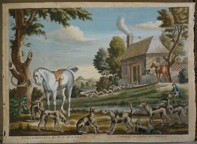 CARINGTON BOWLES after J. SEYMOUR gravé par T. BURFORD (1710-1774) CHIENS CHENIL