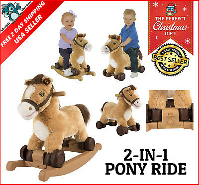 Kids Plush Rocking Horse Ride on Baby Girl Toy Pony Talks and Sings 2 in 1 GIFT