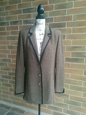 St John Collection by Marie Gray Women's Jacket Blazer Brown Black Vintage 10