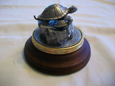 Vintage Pewter Turtle Figurine signed FORT Turtle Sculpture
