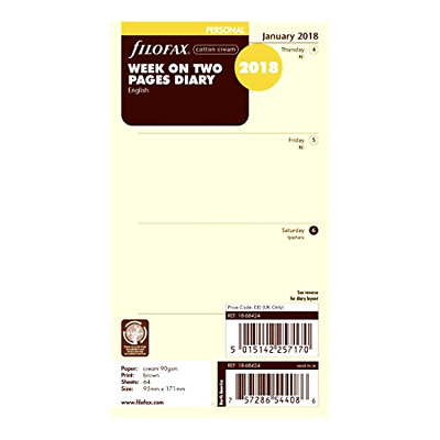 2018 Filofax Personal Size Refill 18-68424, Cotton Cream, Week On Two Pages