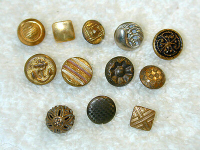 12 Antique Metal Buttons Teeny Tiny Diminutive Doll Size Great Variety