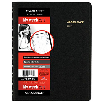 """2018 At-A-Glance 70-865 Weekly Appointment Book With Full Weekend 6-7/8 x 8-3/4"""""""