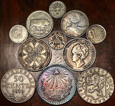 Silver world coin lot , mixed silver foreign coins