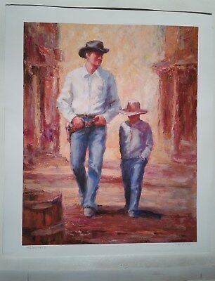 JUST LIKE DAD  -LTD EDITION- L MUSGRAVE - Signed Numbered WESTERN PRINT 19X22""