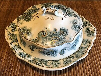 """Vintage 7 3/4"""" W H Grindley Dorothy Pattern Covered Dish - Muffin plate"""