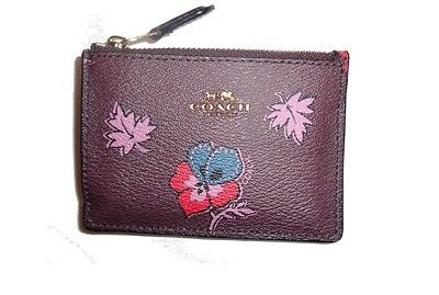 Coach Wildflower skinny Mini Card Case- floral brown pink red  key ring F12555