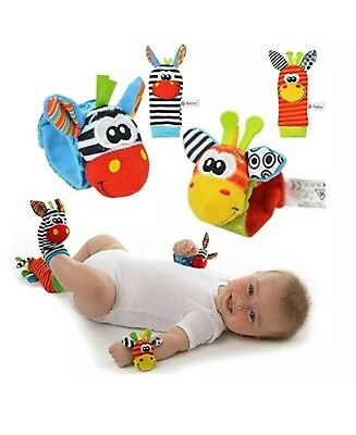 4pcs Zebra Sozzy Rattles Baby Wrist and Feet Finder Toys Deerhand USA SHIPPED