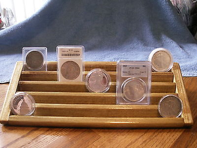 Encapsulated Coin Display Wood  5 Tiers->Oak Stain->Wide Rows for Plastic Case