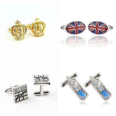 Father's Day Gift Cufflinks Jubilee Crown Union Jack Hour Glass Stock Market