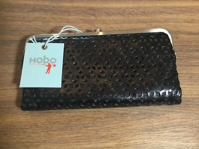 Hobo International Lauren Black Perforated Clutch Leather Wallet New $128