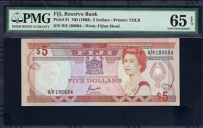 Fiji ND (1989) P-91 PMG Gem UNC 65 EPQ 5 Dollars