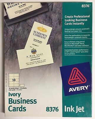 Avery #8376 Inkjet Ivory Business Cards, 13 Sheets Of 10