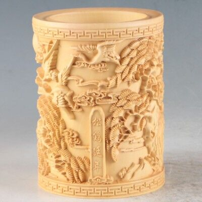 Chinese Bamboo Hand Carved Crane Brush Pot ZJ303
