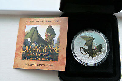 Dragons of Legend 1 oz. Silver Proof Coin   2013 European Green Dragon