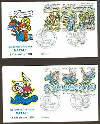 Vatican City Sc# 819-24, Christmas 1988 on 2 First Day Covers