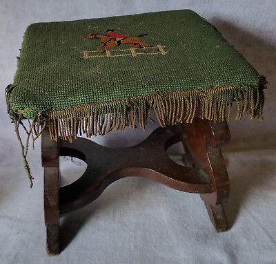 Antique Vintage Needlepoint on wood footstool Rest Gothic Unusual Ottoman Horse