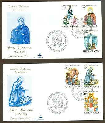 Vatican City Sc# 807-12, Marian Year (1987-1988) on 2 First Day Covers
