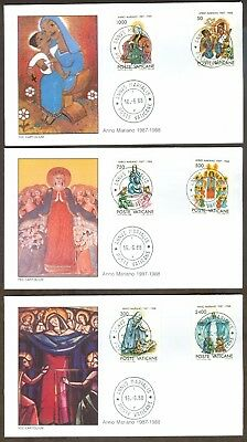 Vatican City Sc# 807-12, Marian Year (1987-1988) on 3 First Day Covers