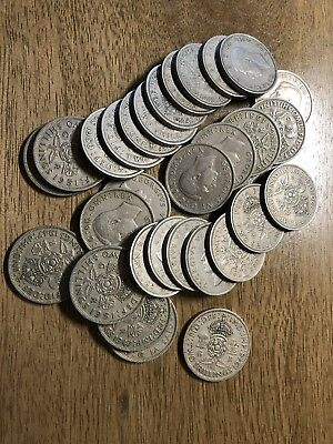 Lot of 30 Great Britain 2 Shilling Coins all 1947-1951