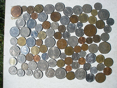 COIN COLLECTION - OVER 90 DIFFERENT COINS - 450g