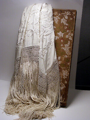 Antique Embroidered Ivory On Ivory Silk Shawl In Original Box - For Bride