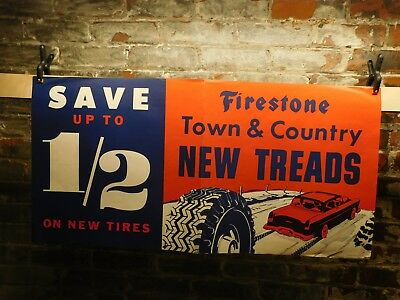 NOS~ 1957 Vintage Firestone Snow Tire Advertising Poster~Free Shipping