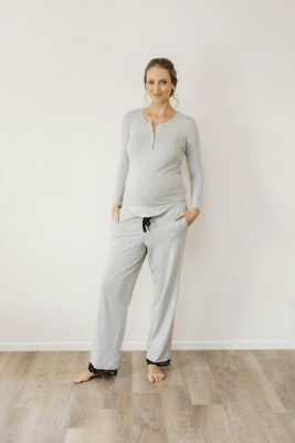 NEW long sleeve T in grey marle Maternity
