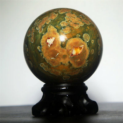 "2.6"" 380g Polished POLYCHROME JASPER SPHERE BALL w/Rosewood Stand-Madagascar"