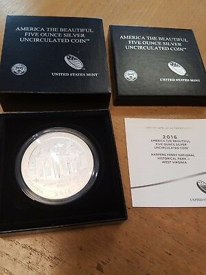 2016-P US Mint Harpers Ferry National 5 oz America The Beautiful Silver Coin!