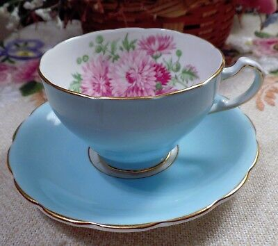 Vintage Crown Staffordshire Blue Floral Tea Cup With Saucer Made In England