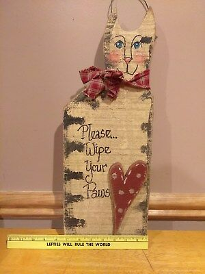 wooden hanging cat 20 inches tall and 7 1/2 inches wide country style