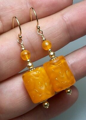 Vintage  1930's Orange Glass Bead 14ct Filled Yellow Gold Earrings #847