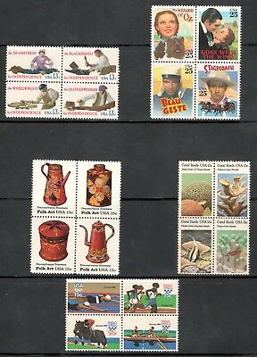 Mint Lot Of 5 Sets US Postage Stamp Collection Below Face Free Shipping (A-5)