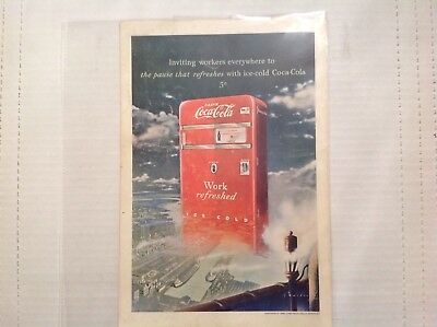 Coca Cola Advertisement From 1948 Work Refreshed Magazine Ad