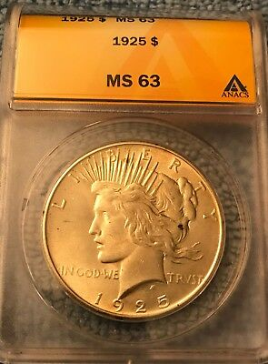 1925 P PEACE Silver Dollar!  ANACS MS 63! NICE COIN WOW! SHIPS FREE!