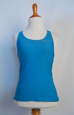 NIKE WOMENS Dri Fit Tank Top  S Small Blue Racer Back Built in Bra